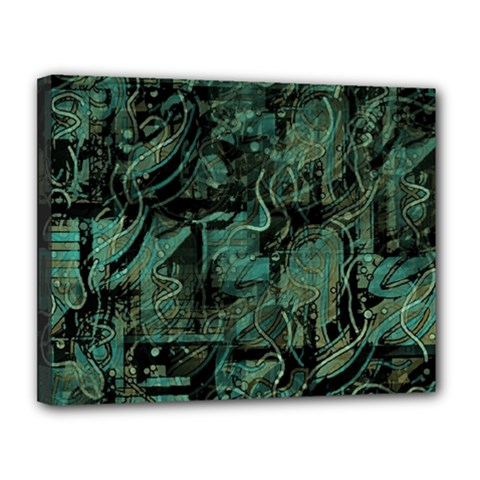 Green town Canvas 14  x 11
