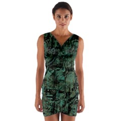 Green town Wrap Front Bodycon Dress