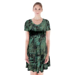 Green town Short Sleeve V-neck Flare Dress