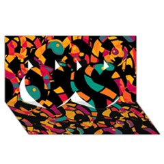 Colorful snakes Twin Hearts 3D Greeting Card (8x4)