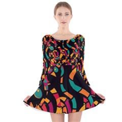 Colorful snakes Long Sleeve Velvet Skater Dress