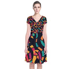 Colorful snakes Short Sleeve Front Wrap Dress