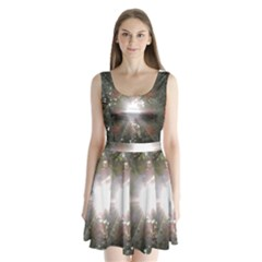 Sun rays through white cherry blossoms Split Back Mini Dress