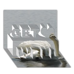 Swimming White Swan Get Well 3d Greeting Card (7x5)