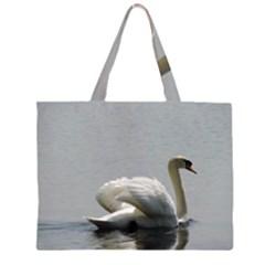 Swimming white Swan Large Tote Bag