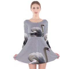 Swimming white Swan Long Sleeve Velvet Skater Dress