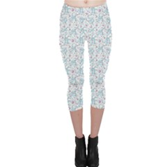 Intricate Floral Collage  Capri Leggings
