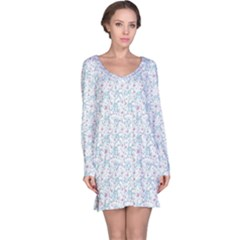 Intricate Floral Collage  Long Sleeve Nightdress
