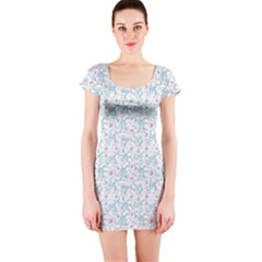 Intricate Floral Collage  Short Sleeve Bodycon Dress