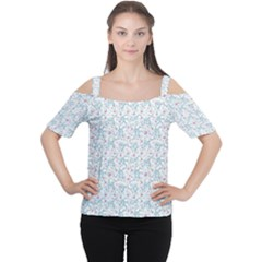 Intricate Floral Collage  Women s Cutout Shoulder Tee