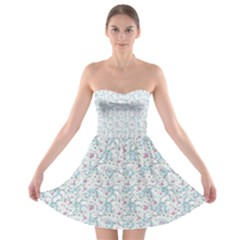 Intricate Floral Collage  Strapless Bra Top Dress