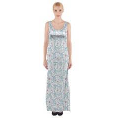 Intricate Floral Collage  Maxi Thigh Split Dress