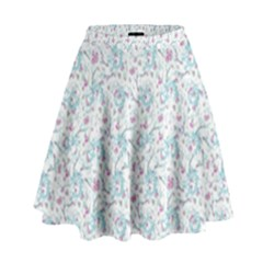 Intricate Floral Collage  High Waist Skirt