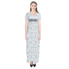 Intricate Floral Collage  Short Sleeve Maxi Dress