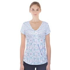 Intricate Floral Collage  Short Sleeve Front Detail Top