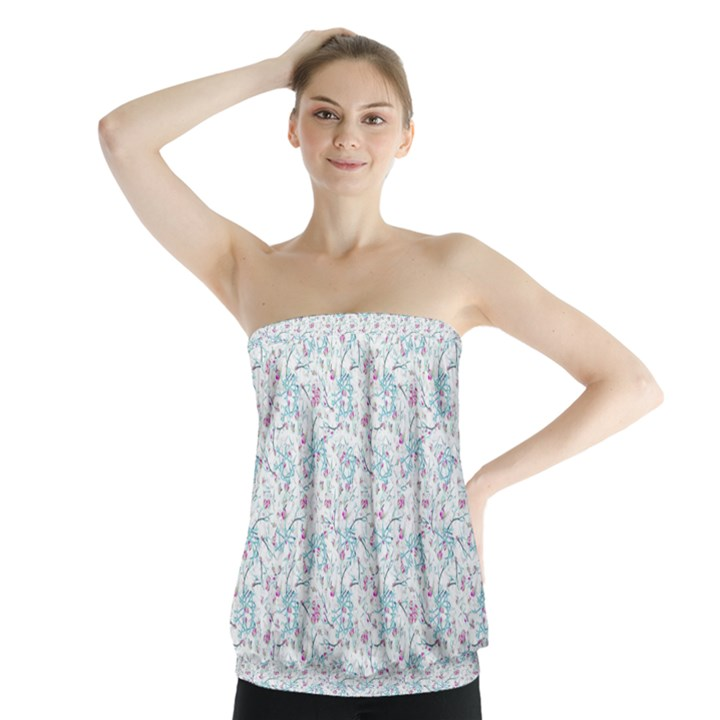 Intricate Floral Collage  Strapless Top