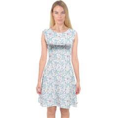 Intricate Floral Collage  Capsleeve Midi Dress
