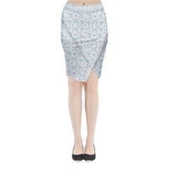 Intricate Floral Collage  Midi Wrap Pencil Skirt