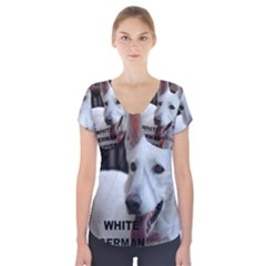 White German Shepherd Love W Pic Short Sleeve Front Detail Top