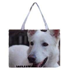 White German Shepherd Love W Pic Medium Zipper Tote Bag
