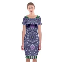 Star Of Mandalas Classic Short Sleeve Midi Dress