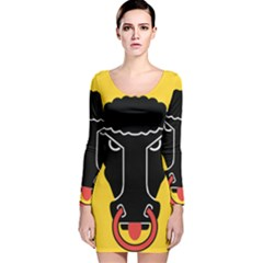 Flag of Canton of Uri Long Sleeve Velvet Bodycon Dress