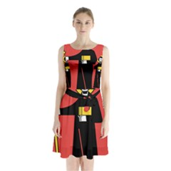 Flag Of Canton Of Glarus Sleeveless Chiffon Waist Tie Dress