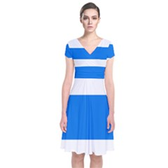 Flag of Canton of Zug Short Sleeve Front Wrap Dress