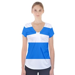 Flag of Canton of Zug Short Sleeve Front Detail Top