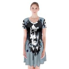 Edgar Allan Crow Short Sleeve V-neck Flare Dress