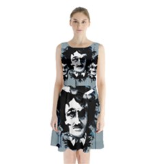 Edgar Allan Crow Sleeveless Chiffon Waist Tie Dress