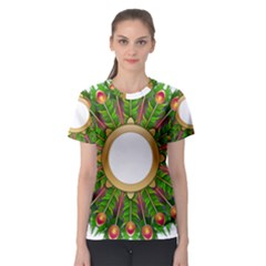 Wreath Peacock Feathers Colorful Women s Sport Mesh Tee