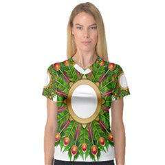 Wreath Peacock Feathers Colorful Women s V-Neck Sport Mesh Tee