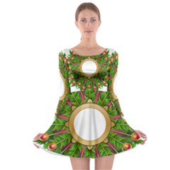 Wreath Peacock Feathers Colorful Long Sleeve Skater Dress