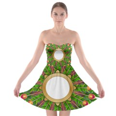Wreath Peacock Feathers Colorful Strapless Bra Top Dress