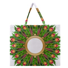 Wreath Peacock Feathers Colorful Zipper Large Tote Bag