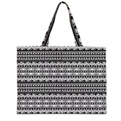 Zentangle Lines Pattern Large Tote Bag
