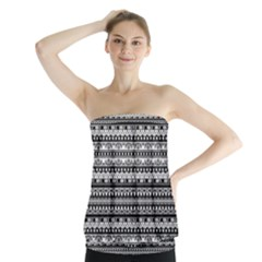 Zentangle Lines Pattern Strapless Top