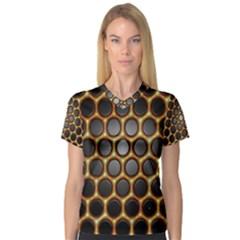 Molecular Graphene Honeycomb Women s V-Neck Sport Mesh Tee