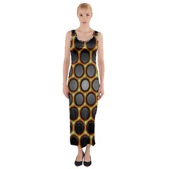 Molecular Graphene Honeycomb Fitted Maxi Dress