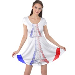 Peace Logo Of Eiffel Tower Cap Sleeve Dresses