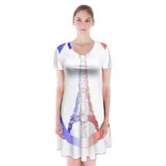 Peace Logo Of Eiffel Tower Short Sleeve V-neck Flare Dress