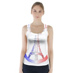 Peace Logo Of Eiffel Tower Racer Back Sports Top