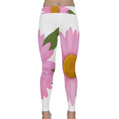 Pink Daisy Clipart Yoga Leggings