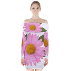 Pink Daisy Clipart Long Sleeve Off Shoulder Dress