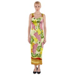 Pizza Clip Art Fitted Maxi Dress