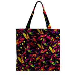 Colorful dragonflies design Zipper Grocery Tote Bag