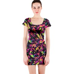 Colorful dragonflies design Short Sleeve Bodycon Dress