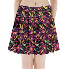 Colorful Dragonflies Design Pleated Mini Skirt