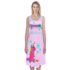 Pink Unicorn Midi Sleeveless Dress